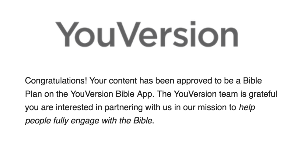 YouVersion congrats